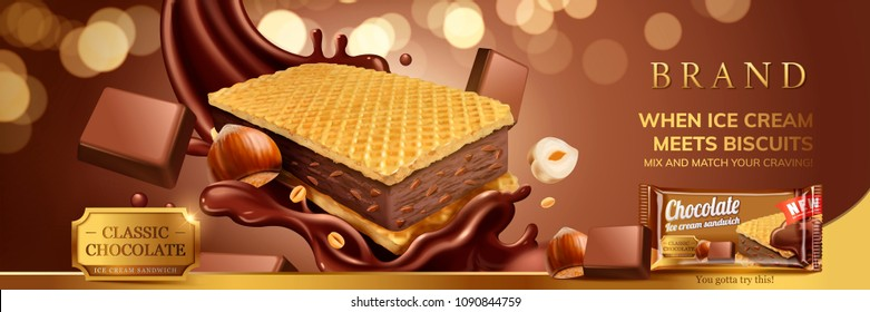 Hazelnut chocolate ice cream sandwich with wafer cookies and splash sauce illustration, glitter brown background