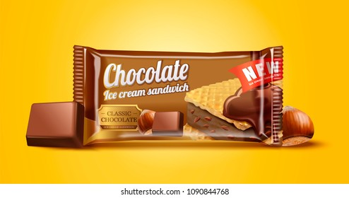 Hazelnut chocolate ice cream sandwich package design illustration on chrome yellow background