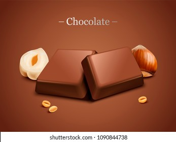 Hazelnut chocolate on brown background illustration