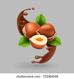 Hazelnut and chocolate realistic splash. vector illustration
