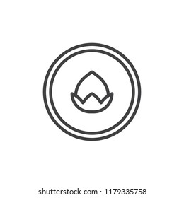 Hazelnut in a circle outline icon. linear style sign for mobile concept and web design. Nut line vector icon. Symbol, logo illustration. Pixel perfect vector graphics