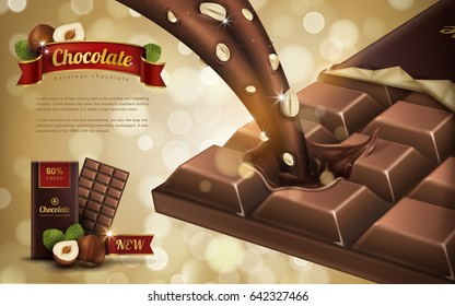 hazelnut flavor chocolate ad, bokeh background, 3d illustration