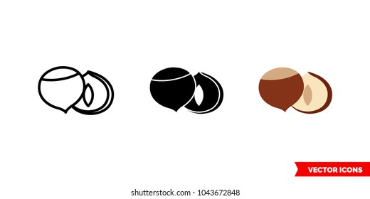Hazelnut icon of 3 types: color, black and white, outline. Isolated vector sign symbol.