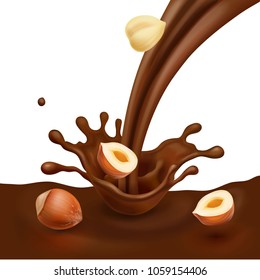 Hazelnut with liquid chocolate design for advertising