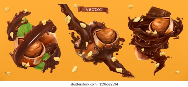 Hazelnuts and chocolate splashes. 3d realistic vector
