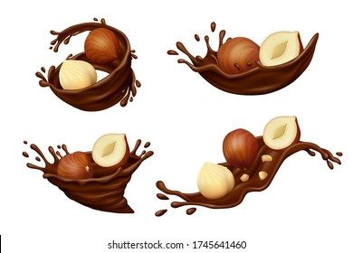 Hazelnuts in chocolate splashes with drops isolated on white background. Realistic vector illustration.