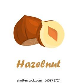 Hazelnuts color icons in cartoon design