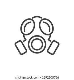 Hazmat sign. Face mask.  Protection wearing gear. Chemical bio hazard or radioactive. Flat minimalist design. white Gray black vector. product brand service label banner board display. App icon.
