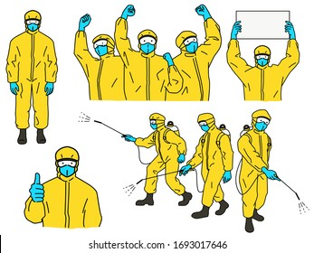 Hazmat suits vector character set, concept of fight against Coronavirus or Covid-19, standing full length, holding and raising fists in the air, thumb up, cleaning, and hold blank banner.