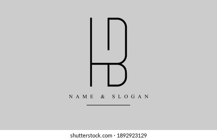 HB BH abstract vector logo monogram template