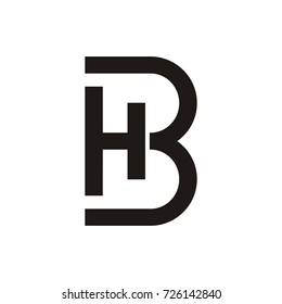 HB or BH initial letter logo design template vector