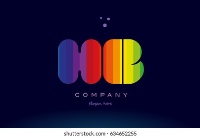 hb h b alphabet letter colorful creative colors text dots creative company logo vector icon design template