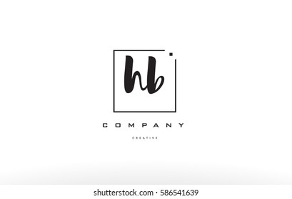 hb h b hand writing written black white alphabet company letter logo square background small lowercase design creative vector icon template