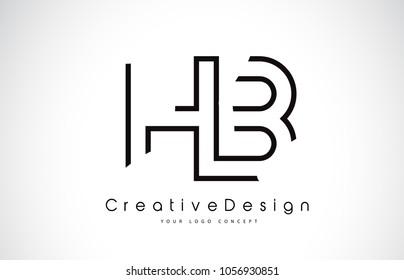 HB H B Letter Logo Design in Black Colors. Creative Modern Letters Vector Icon Logo Illustration.
