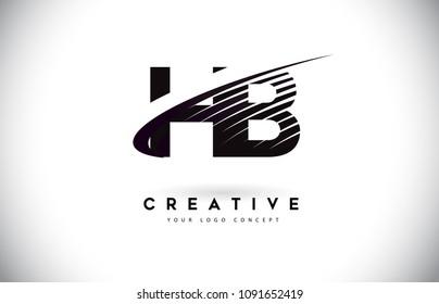 HB H B Letter Logo Design with Swoosh and Black Lines. Modern Creative zebra lines Letters Vector Logo