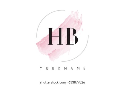 HB H B Watercolor Letter Logo Design with Circular Shape and Pastel Pink Brush.