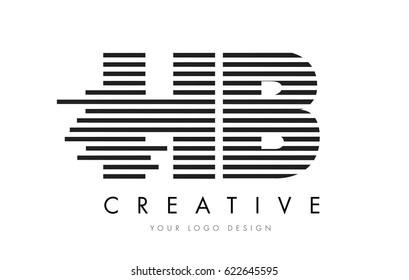 HB H B Zebra Letter Logo Design with Black and White Stripes Vector