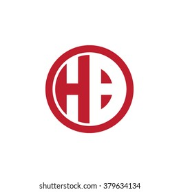 HB initial letters circle business logo red