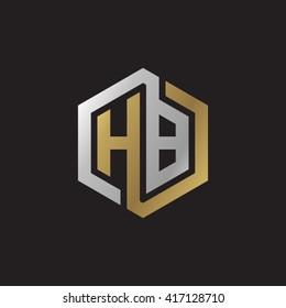 HB initial letters looping linked hexagon elegant logo golden silver black background