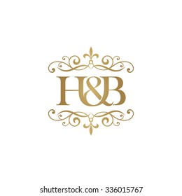 H&B Initial logo. Ornament ampersand monogram golden logo