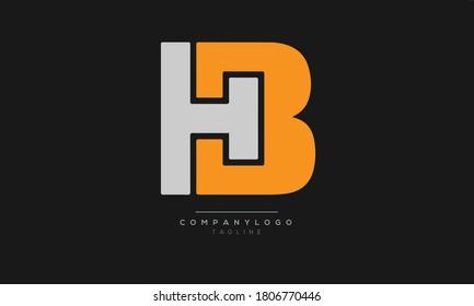 HB  initials monogram letter text alphabet logo design