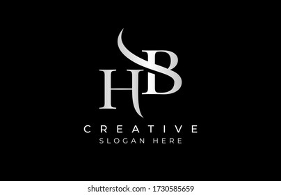 HB letter design logo logotype icon concept with serif font and classic elegant style look vector illustration. HB Letter Logo Design Template Vector Illustration.