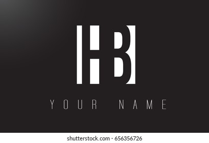 HB Letter Logo With Black and White Letters Negative Space Design.
