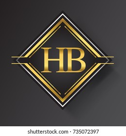 HB Letter logo in a square shape gold and silver colored geometric ornaments. Vector design template elements for your business or company identity.
