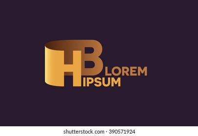 HB letters logo, H and B letters logo alphabet design.