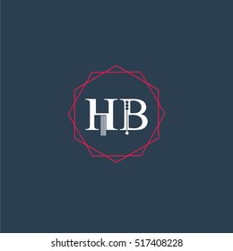 hb logo initial Letter, Abstract Polygonal Background Logo, design for Corporate Business Identity,flat icon, Alphabet letter