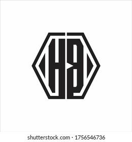 HB Logo monogram with hexagon line rounded design template on white background