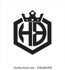 HB Logo monogram rounded by hexagon shape with crown design template on white background