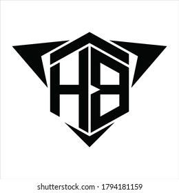 HB Logo monogram with wings arrow around design template on white background