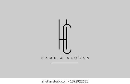 HC CH abstract vector logo monogram template