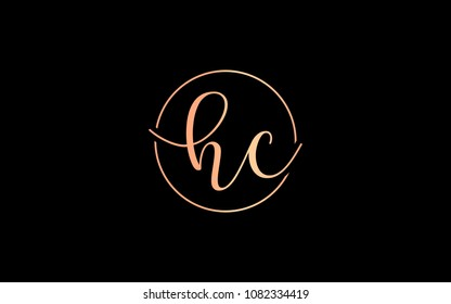 hc ch Circular Cursive Letter Initial Logo Design