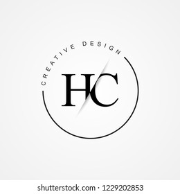 HC H C Initial Logo. Cutting and linked letter logo icon with paper cut in the middle. Creative monogram logo design. Fashion icon design template.