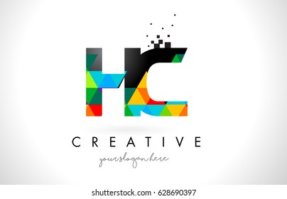 HC H C Letter Logo with Colorful Vivid Triangles Texture Design Vector Illustration.