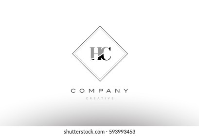 hc h c  retro vintage black white alphabet company letter logo line design vector icon template