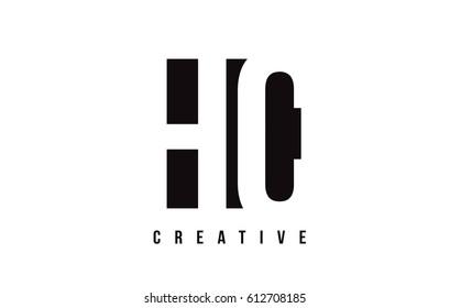 HC H C White Letter Logo Design with Black Square Vector Illustration Template.
