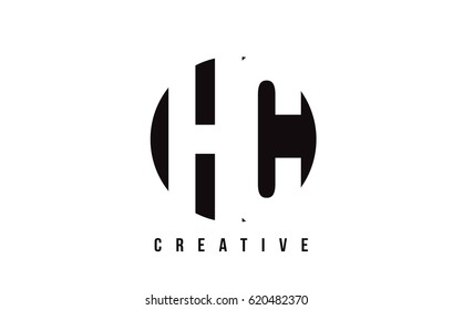 HC H C White Letter Logo Design with Circle Background Vector Illustration Template.
