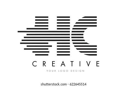 HC H C Zebra Letter Logo Design with Black and White Stripes Vector