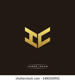HC / IC Logo Letter Initial Logo Designs Templete with Gold and Black Background