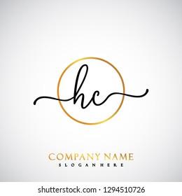 HC Initial Handwriting logo template vector