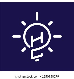 HC Initial Letter with creative bulb Logo vector element. Initial letter bulb Logo Template