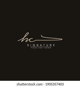 HC Initial Letter Logo - Hand Drawn Signature Logo