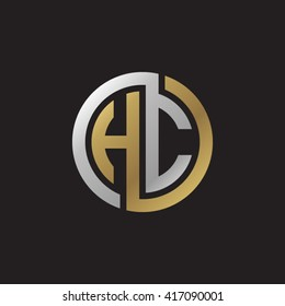 HC initial letters looping linked circle elegant logo golden silver black background