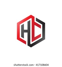 HC initial letters looping linked hexagon logo black red