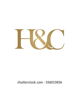 H&C Initial logo. Ampersand monogram golden logo