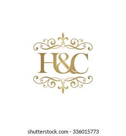 H&C Initial logo. Ornament ampersand monogram golden logo