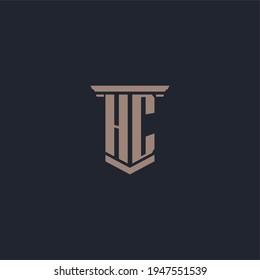 HC initial monogram logo with pillar style design